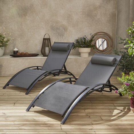 Tumbonas de aluminio antracita y textileno gris  Louisa x2