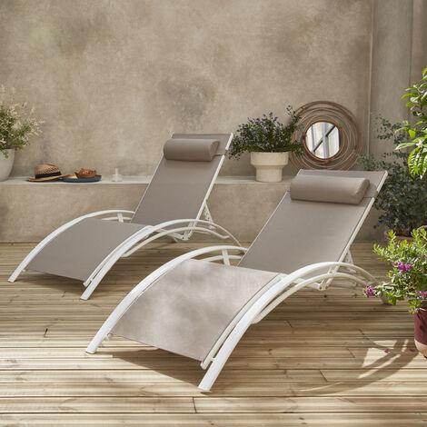 "main image of ""Tumbonas de aluminio y textileno | Louisa x2"""
