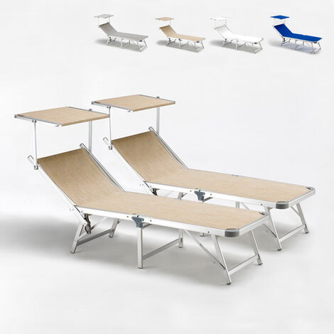Tumbonas de playa plegables aluminio GABICCE Oferta 2 Piezas