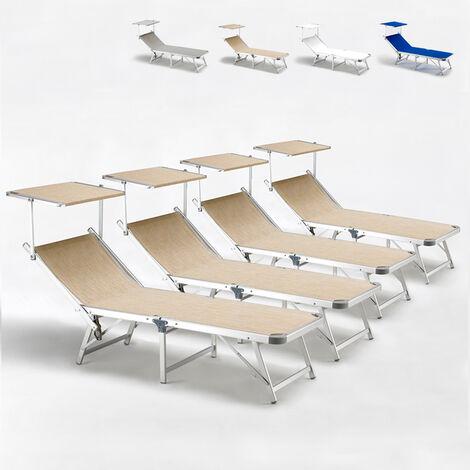 Tumbonas de playa plegables aluminio toldo parasol GABICCE Oferta 4 Piezas
