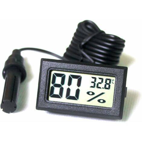 Tuner Numérique Intégré Thermomètre Hygromètre avec Sonde Externe pour Couveuse Aquarium Volaille Reptile *(Noir)