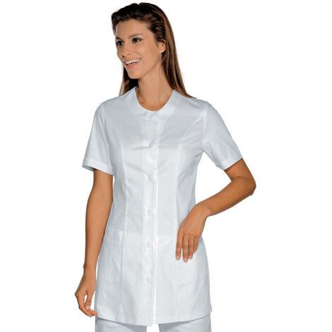 Tunique médicale femme Isacco Lampedusa blanche manches courtes Blanc