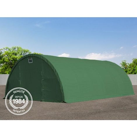 Tunnel de stockage 9,15 x 20 m tente d'élevage abri d'écurie machines animaux hall hangar garage 350g/m² PE vert fonce