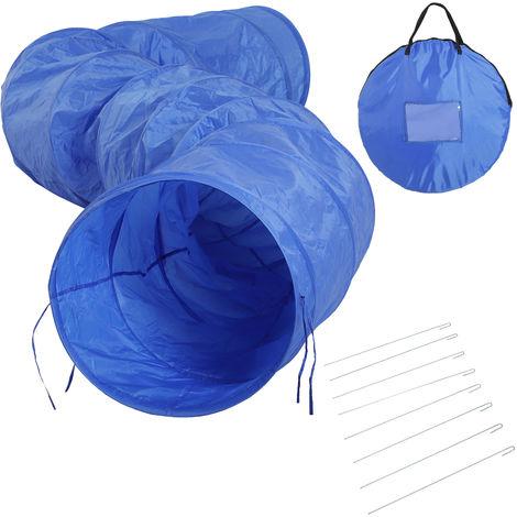 Tunnel d'entraînement d'agilité pliable portable jouet pour chiens Ø 60 cm x 5 m double tissu oxford haute densité 300D 8 piquets d'ancrage au sol fournis bleu