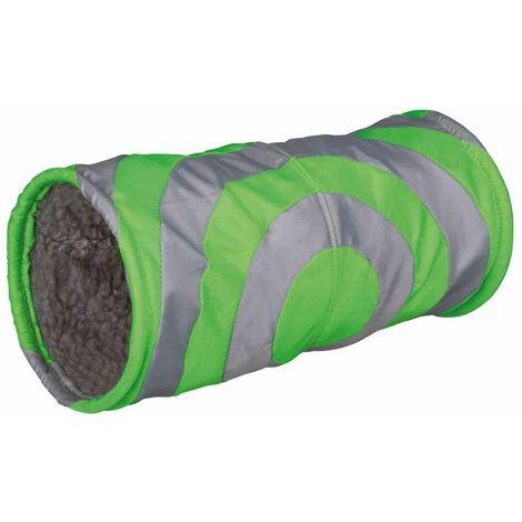 Tunnel douillet pour petits animaux - ø 15 × 35 cm, gris/vert