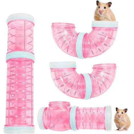 Tunnels de Hamster, Hamster Externe Bricolage Tunnel Tube Exercice Cage Accessoires Bricolage Hamster Tunnel pour Hamster Souris et Autres Petits Animaux de Compagnie(Rose)