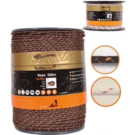 Turboline rope for professional electric fences diameter 6mm with 8 stainless steel conductors of 0.2mm and 3 copper conductors of 0.25mm Gallagher