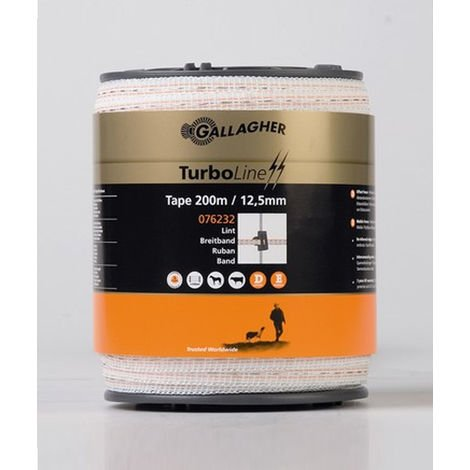 Turboline webbing for professional electric fences height 1.25 cm with 2 stainless steel conductors 0.15mm più 1 0.2mm and 2 copper conductors 0.25mm Gallagher