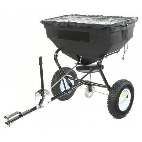 Turfmaster Épandeur rotatif à tracter 56 kg pour compost, graine et sel de déneigement