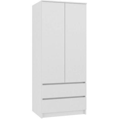 TURIN | Armoire chambre bureau | Penderie multifonctions | 2 portes | 2 grands tiroirs coulissants | Meuble de rangement | Dressing | blanc - blanc