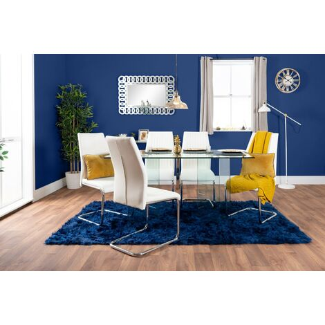 Turin Large Modern Clear All Glass Dining Table And 6 Lorenzo Chairs Set