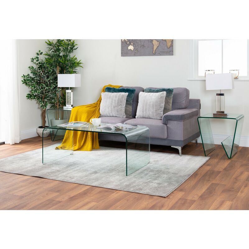 Turin Modern Clear Glass Curved Coffee Table Tur Gls Cof Tbl