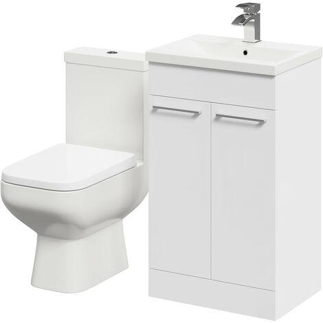 Turin White Gloss 500mm 2 Door Vanity Unit & Toilet Suite