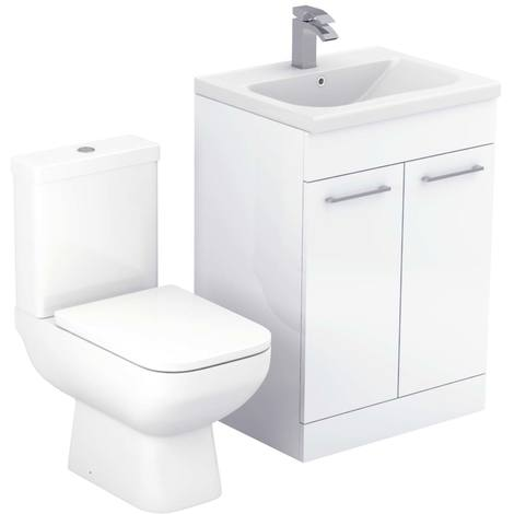 Turin White Gloss 600mm 2 Door Vanity Unit & Toilet Suite
