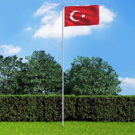 Turkey Flag and Pole Aluminium 6 m