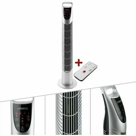 Turmventilator mit Fernbedienung 40 Watt Silber (oszilierend, drei Stufen, Timer) - Standventilator Säulenventilator Ventilator