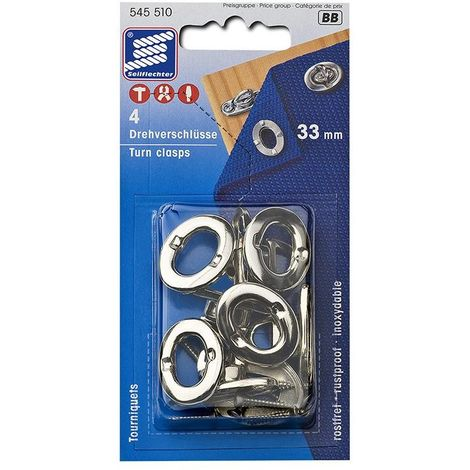 Turn clasps, 33mm, 4 pieces in blister