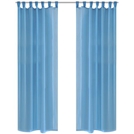 Turquoise Sheer Curtain 140 x 175 cm 2 pcs