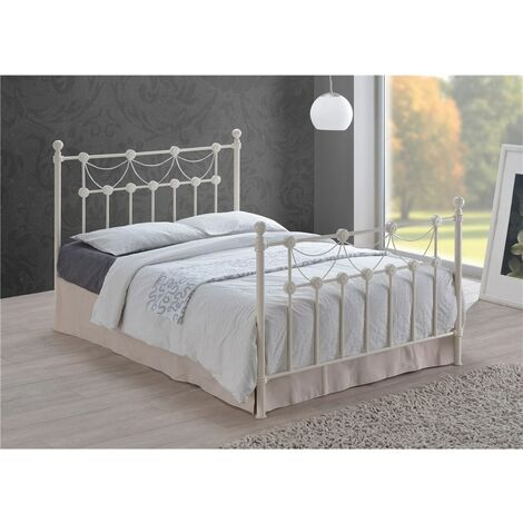 Tuscan Style Ivory Metal Bed Frame - Double 4ft 6""