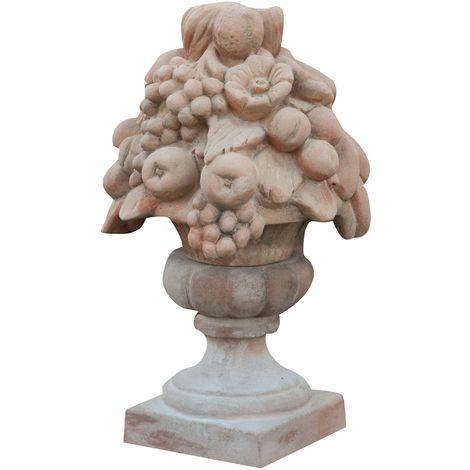 Tuscan terracotta made diam.35x60 cm aged fruit basket