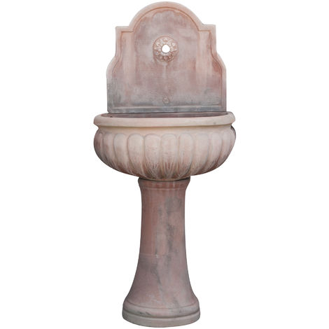 Tuscan terracotta made with large bowl aged wall fountain