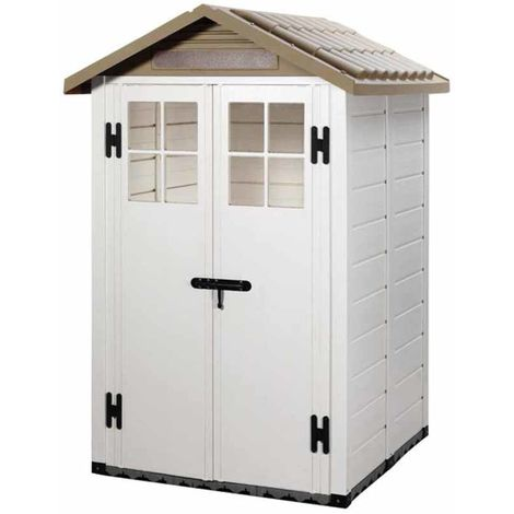 Tuscany Evo 4' x 4' 100 Apex Plastic Shed Double Door with Two Pre Glazed Plastic Windows