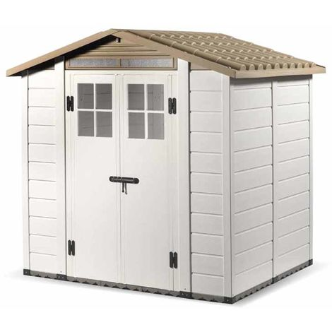 "Tuscany Evo 6'6"" x 5'4"" 200 Apex Plastic Shed Double Door with Two Perspex Windows"