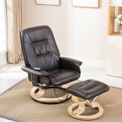 TUSCANY REAL LEATHER SWIVEL RECLINER MASSAGE CHAIR w FOOT STOOL - different colors available