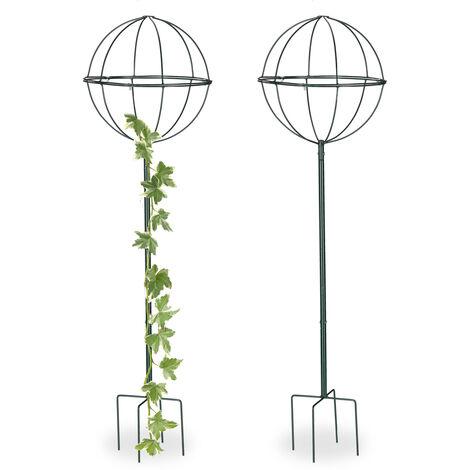 Tuteur de jardin 118,5 cm Boule ronde, Colonne rosier, Arche plante grimpante, set 2 métal, Arceau, vert foncé