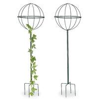 Tuteur De Jardin 1185 Cm Boule Ronde Colonne Rosier Arche Plante Grimpante Set 2 Métal Arceau Vert Foncé