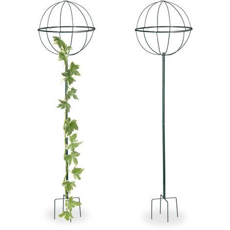 Tuteur de jardin H 157 cm, Boule ronde, Colonne rosier, Arche plante grimpante, set 2 métal Arceau, vert foncé