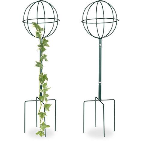Tuteur de jardin H 80 cm, Boule ronde, Colonne rosier, Arche plante grimpante, set 2 métal, Arceau, vert foncé