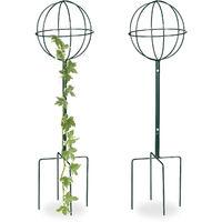 Tuteur De Jardin H 80 Cm Boule Ronde Colonne Rosier Arche Plante Grimpante Set 2 Métal Arceau Vert Foncé