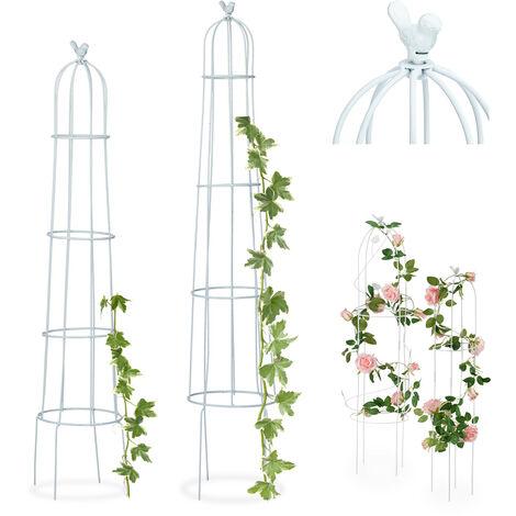 Tuteur de jardin Oiseau colonne rosier arche plante grimpante set 2 métal H 113 cm et 103 cm arceau, blanc