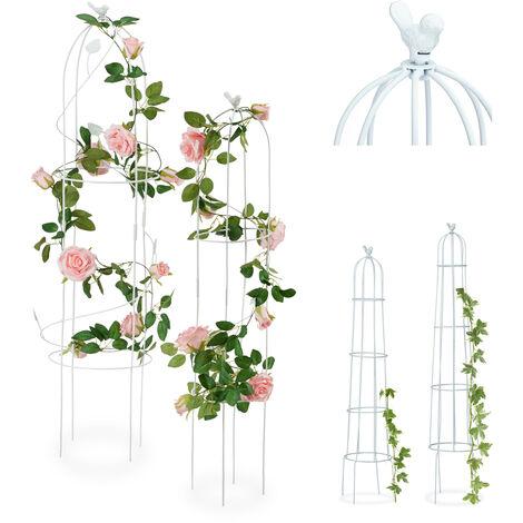 Tuteur de jardin Oiseau colonne rosier arche plante grimpante set 2 métal H 117 cm et 97 cm arceau, blanc