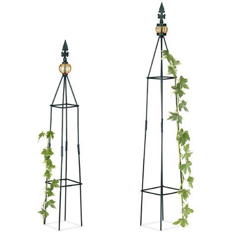 Tuteur jardin pyramide colonne rosier arche plante grimpante set 2 métal arceau H: 99,5 et 81 cm, vert foncé