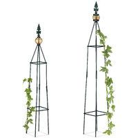 Tuteur Jardin Pyramide Colonne Rosier Arche Plante Grimpante Set 2 Métal Arceau H 995 Et 81 Cm Vert Foncé