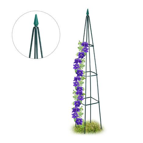 Tuteur Jardin, Pyramide haute 192 cm, Colonne Rosier, Arche Plante grimpante, Arceau , fer, vert foncé