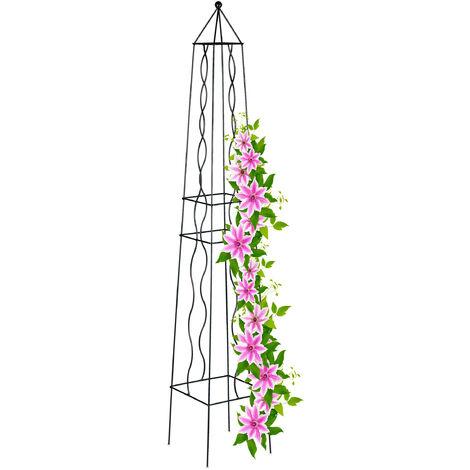 Tuteur rosier carré, obélisque, arche plantes grimpantes, treillis tomates, vignes, acier, H : 122 cm, noir
