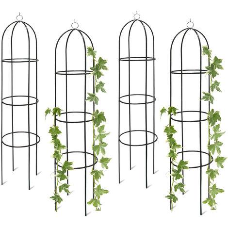 Tuteur support pour plantes grimpantes et rosiers rond en métal hauteur env. 2 m - set de 4 pièces