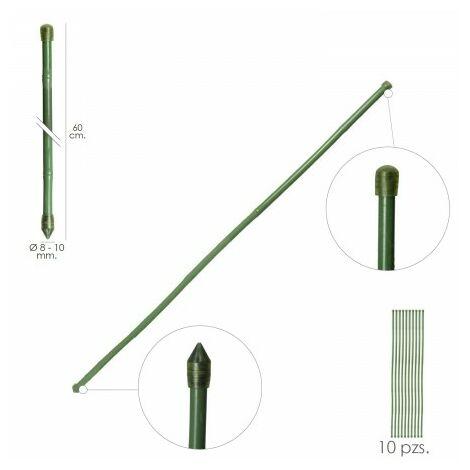 Tuteur tige bambou plastifié Ø 8 - 10 mm x 90 cm. (paquet 10 unités)
