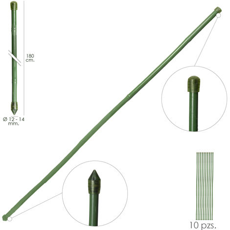 Tutor Varilla Bambú Plastificado Ø 12 - 14 mm. x 180 cm. (Paquete 10 Unidades)