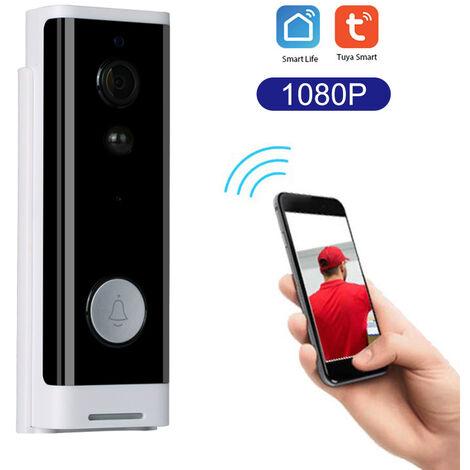 Tuya 1080P interphone video WiFi intelligent de faible puissance sonnette adistance de la maison / de l'usine de surveillance de la sonnette sans fil