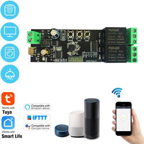 Tuya 2CH USB Interruptor DC 5V / 7-32V WiFi inalambrico Modulo de rele de temporizacion Funcion de cambio remoto para Android / iOS control remoto