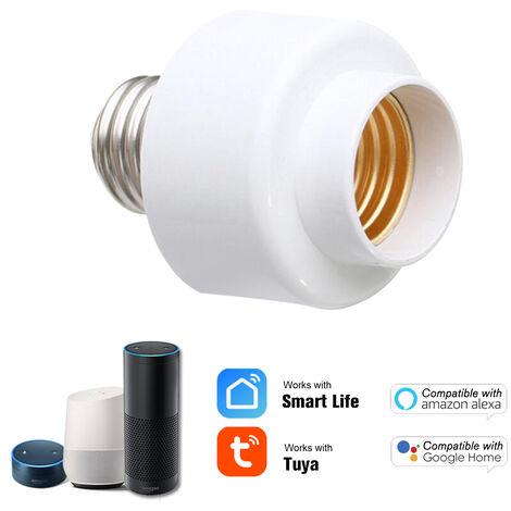 Tuya Intelligent Slampher Smart Wifi Ampoule E27 Holder Support De Lampe Sans Fil Reel Timer Pour Smart Home Compatible Avec Amazon Alexa Et Google Accueil