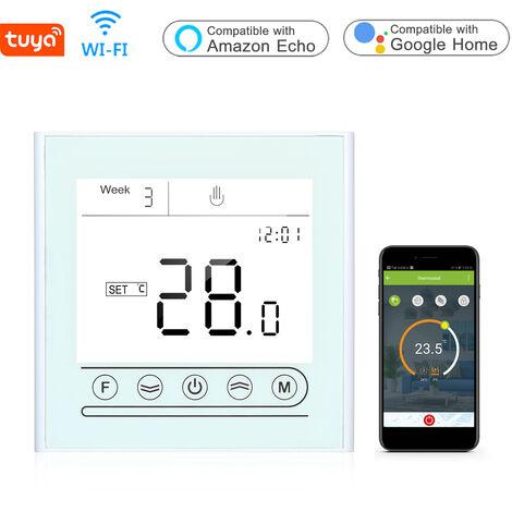 Tuya Smart Wifi Thermostat Programmable Regulateur De Temperature Pour Chaudiere / Chauffage Au Gaz, Blanc, Chauffage De Chaudiere Gc