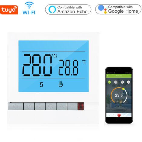 Tuya Wi-Fi inteligente del agua de calefaccion del termostato programable Controlador de temperatura compatible con Alexa pagina principal de Google Gran pantalla LCD con luz de fondo Screeb, Blanco, GA Agua Calefaccion