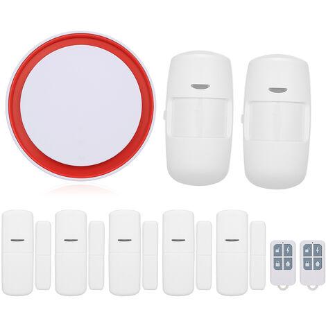 Tuya WIFI + GSM 2G sirene sonore et lumineuse alarme integree 433 MHz (norme europeenne) 2 * telecommande + 2 * infrarouge + 5 * capteur de porte
