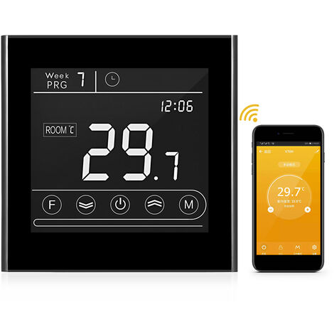 TUYA WiFi Thermostat Intelligent Regulateur de Temperature Programmable Design Carre Plomberie Noire V70 3A (GA)