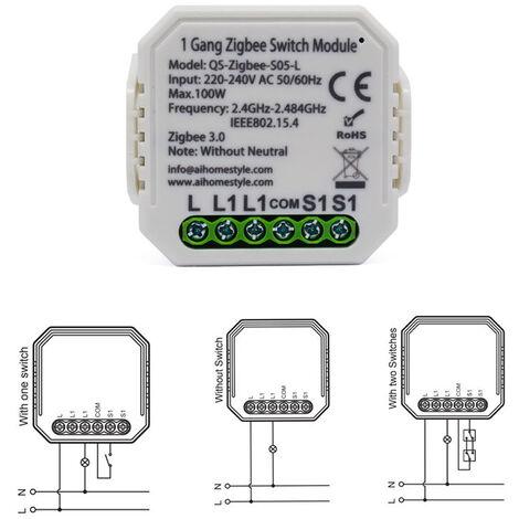 """main image of """"Tuya Zigbee Module De Commutation Intelligente Des Menages Converti Module Non / Avec Neutre Sans Fil Interrupteur Polyvalent Outil Compatible Avec Alexa, Type 2"""""""